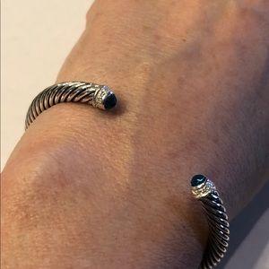 David Yurman Sterling Blue Topaz Cable Bracelet